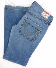 True Religion Women's Jeans 32 Sammy Big T Boot Cut Light Blue Denim Authentic #TrueReligion #BootCut