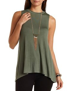 Tunic-Length Swing Muscle Tee: Charlotte Russe