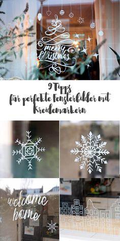 Fenster bemalen mit Chalkmarkern DIY - DIY Fensterdeko mit Kreidestiften - 9 Tipps wie es perfekt gelingt - Weihnachtsdeko fürs Fenster #kreidestifte #fensterdeko
