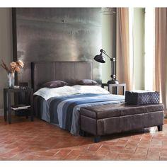 Tête de lit imitation cuir marron L 160 cm Sellier | Maisons du Monde