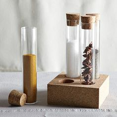 Test tube spice rack.  I love laboratory glassware for the kitchen.