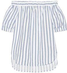 MICHAEL Michael Kors - Off-the-shoulder Striped Linen Top - White