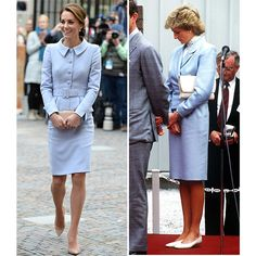 Catherine in a powder blue Catherine Walker skirt suit in 2016, and her mother-in-law Diana wearing a similar style in 1988.   Photos: Getty Images