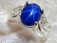 10x8 Star Sapphire Ring (Lab), Filigree Star Sapphire Ring (Lab) Solid 925 Sterling Silver Size 7 Unisex Oval