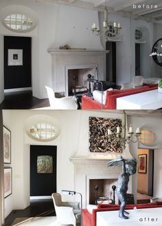 A living room transformed. #sculpture #painting #drawing #living #interior #chic #luxe #art #collection