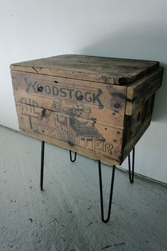 """milk crate table with hairpin legs 