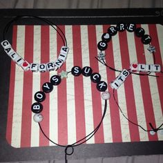 Custom Made Bracelets! Now making custom bracelets! those in the picture are for sale also! (except for the one that says Garrett, that's my boyfriend;) Comment to give me your custom order: color of the letters (white square or black circle), any hearts included or smileys-circle or star. The hearts come in white/red or black/white. Smileys come in all regular colors. I will make a NEW listing. do not buy this listing!!  $6 each, but discounts get better the more you buy! -not Brandy…