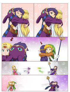 "The Legend of Zelda: A Link Between Worlds / Link, Princess Zelda, Ravio, and Princess Hilda / ""Hugs?"" - Work by Hunter x Hunter ♥ The Legend of Zelda (5)"