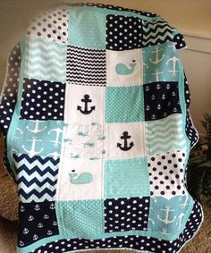 "Nautical Crib Size quilt in Aqua, Teal, Navy 38""x52""/Nautical Anchor Whale Quilt by Lovesewnseams on Etsy"