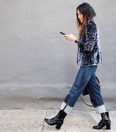 Velvet patterned jacket, big cuff denim, mid calf boots