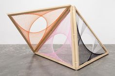 Nike Savvas | No Gods No Kings  Sliding ladder (orange, pink, black and white)  2012, wood and wool, dimensions variable