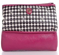 Adrienne Vittadini 3-compartment Cosmetics Bag; Chic Style Pyramid Cosmetic Case Folds Out Into Three Handy Compartments (Dark Pink/black and white polka dot)