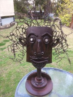 Shovel Head Metal Sculpture Yard Art Garden Junk Made With An Old Broken And Other Recycled Pieces