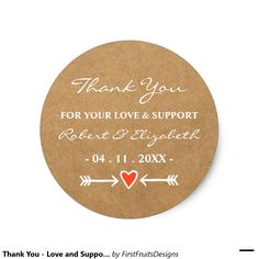 Thank You - Love and Support - Pink Heart Arrow Classic Round Sticker