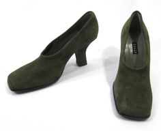New Bally Safarie Women's High Heels Size 6 Green Suede Square Toe Pumps Italy  #Bally #PumpsClassics
