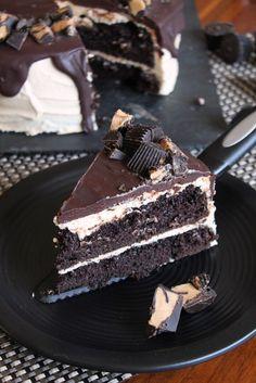Dark Chocolate Peanut Butter Cup Cake