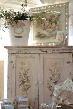 At Shabby Chic Cottage Shabby Cottage Diva Decor, Shabby Chic Decor, Shabby Chic Living Room, Shabby Chic Dresser, Shabby Chic Pink, Chic Decor, Chic Bedroom, Shabby Cottage, Shabby Chic Furniture