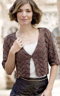 The cardigan (bolero): deep v-neckline--complements neckline YinN wears well. Good easy half sleeves. (I don't like the pattern of the knit, though)