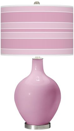 Pink Pansy Bold Stripe Ovo Table Lamp | LampsPlus.com