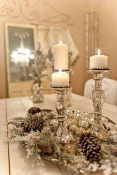 Decoración para Navidad en Color Beige y Dorado