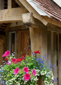 bedfordshire pearmain - Border Oak - oak framed houses, oak framed garages and structures. Border Oak, Oak Framed Buildings, Oak Frame House, Cottage Exterior, Entrance Hall, Garages, Porches, My House, Architecture
