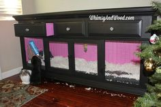 (love the pink and diamonds) elegant bedroom bunny hutch from dresser, painted furniture, repurposing upcycling Bunny Cages, Hamster Cages, Rabbit Cages, House Rabbit, Pet Rabbit, Rabbit Pen, Angora Rabbit, Rabbit Toys, Guinea Pig House