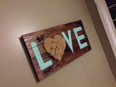 wooden love sign with a burlap heart. the one by SimplySouthDecor
