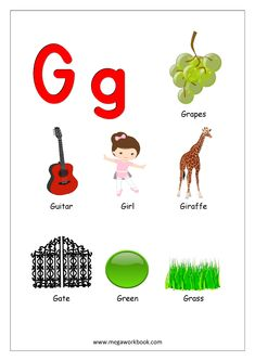 Free Printable English Worksheets - Alphabet Reading (Letter Recognition And Objects Starting With Each Letter) - MegaWorkbook Printable English Worksheets, English Worksheets For Kindergarten, Alphabet Worksheets, Preschool Worksheets, Alphabet Activities, Preschool Activities, Printable Alphabet, Free Printables, Alphabet Charts