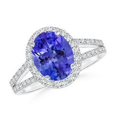 Angara Scalloped Diamond Halo Claw Tanzanite Vintage Ring in White Gold VhsMeJd