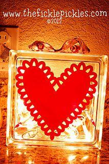 Valentine glass block with vinyl heart