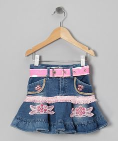 Take a look at this Shanil Blue & Pink Belted Denim Skirt - Toddler & Girls on zulily today!