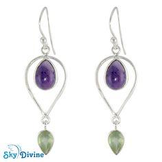 925 Sterling Silver Amethyst & Peridot Earring SDER2130 | Sky Divine Jewellery, $42.42