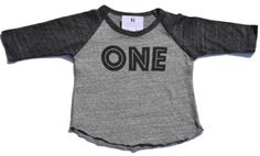 Is your little one turning one? We have a simple, yet modern tee available for your soon-to-be one year old. Available in both a tee and raglan style in sizes 6-12mo and 12-18mo. See ONE short sleeved