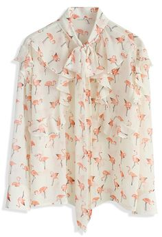 Ethereal Flamingo Chiffon Shirt - New Arrivals - Retro, Indie and Unique Fashion