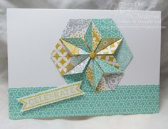 handmade card:Hexagon Punch Star Fold Card ... luv the pretty aqua and gold on white ... great dimensional look in the medallion ... Stampin' Up!
