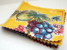 Oil cloth coasters set of 4 reversible by cutebrightthings on Etsy, $6.00