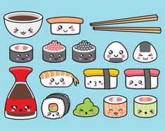 Premium Vector Clipart - Kawaii Sushi Clipart - Kawaii Sushi Clip Art Set - High…