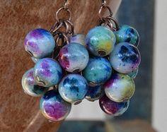 Rojo perla de cristal y pendientes de plata por CharmedImagination