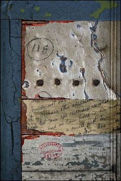 Artist: IAN FOSTER - Ashwellthorp, Norfolk UK - This was my first effort (digital collage) which uses elements from an old door rescued from a skip, a rather derelict railway wagon, a letter written in 1925, cracked plaster on a stable wall, a Chinese airplane ticket, bolt heads from a church door and a few textures taken from other images.