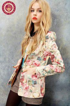 Women's Flower Suede Blazer Jacket