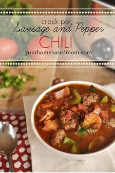 A delicious crock pot dinner. You can control the heat in Sausage and Pepper Crock Pot Chili to whatever level you want. Hot, Medium or Mild!