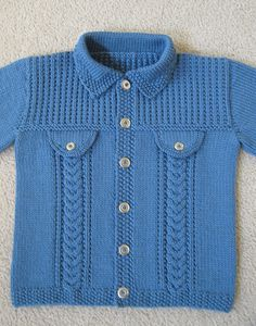 Denim-style Jacket pattern by Sirdar Spinning Ltd - Knitting patterns, knitting designs, knitting for beginners. Kids Knitting Patterns, Baby Cardigan Knitting Pattern, Baby Boy Knitting, Knitting For Kids, Knitting Designs, Crochet Pattern, Pullover Design, Sweater Design, Gilet Crochet