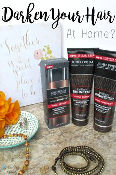 Who has time to go to a salon? Not this mom! So I'm bringing the salon to my shower with these new John Frieda Brilliant Brunette® Visibly Deeper™ Colour Deepening products! | #RethinkYourColour #ad