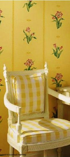 Eye For Design: Decorate With Buffalo Checks For Charming Interiors.Gingham yellow fabric for kitchen, curtains in yellow lining to reflect more sunshine in. Decor, Furniture, Yellow Cottage, Cottage, Interior, Yellow Home Decor, Yellow Houses, Yellow Room, Upholstery