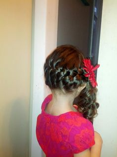 French braid with curled pony