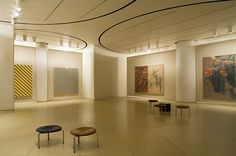 The interior of the Painting Gallery is a windowless space formed by the juncture of three circular galleries. The paintings can be changed simply by rolling a new pair of walls into view like a postcard rack.    Read more: http://www.time.com/time/photogallery/0,29307,1638020,00.html#ixzz1tg81EdjK