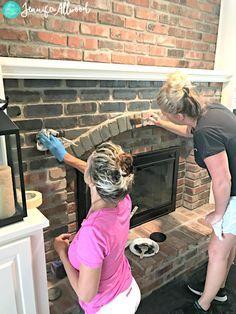 Black Painted Brick Fireplace Jennifer Allwood White Wash Brick Fireplace, Painted Brick Fireplaces, Fireplace Update, Paint Fireplace, Brick Fireplace Makeover, Fireplace Design, Fireplace Mantels, Fireplace Ideas, Brick Fireplace Remodel