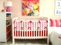 Project Nursery - White Crib with Pink and Red Bedding