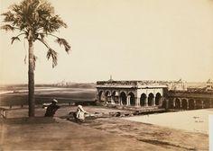1860s :: Palace of Akbar with Taj Mahal in distance , Agra   (Photographer- Samuel Bourne )