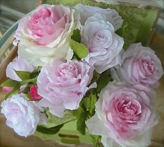 light pink paper roses made by me :)
